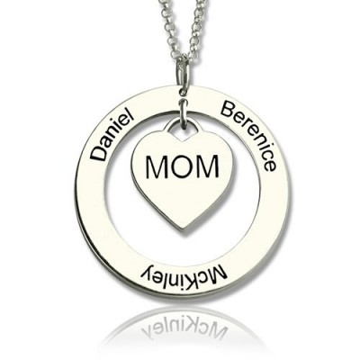 Family Names Necklace For Mom Sterling Silver - Handmade By AOL Special