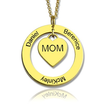 Family Names Necklace For Mom 18ct Gold Plating - Handmade By AOL Special