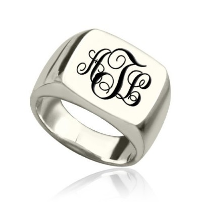 Personalized Signet Ring Sterling Silver with Monogram - Handmade By AOL Special