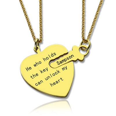 He Who Holds the Key Couple Necklaces Set 18ct Gold Plated - Handmade By AOL Special