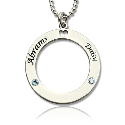 Engraved Circle of Love Name Necklace with Birthstone Silver - Handmade By AOL Special