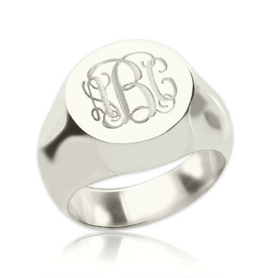 Signet Ring Sterling Silver Engraved Monogram - Handmade By AOL Special
