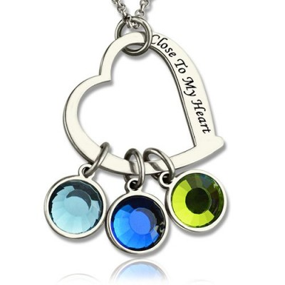 Open Heart Promise Phrase Necklace with Birthstone - Handmade By AOL Special