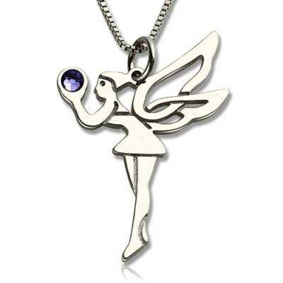 Personalized Fairy Birthstone Necklace for Girls Sterling Silver - Handmade By AOL Special