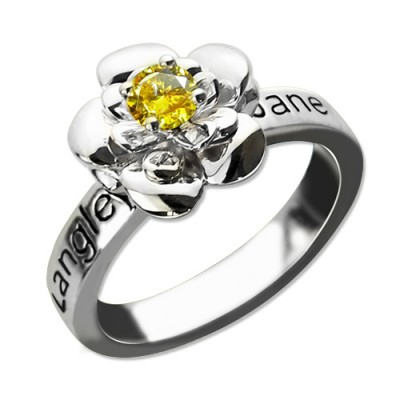 Promise Rose Ring Engraved Name Birthstone Sterling Silver - Handmade By AOL Special