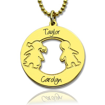 Circle Necklace Engraved Children Name Charms 18ct Gold Plated Silver925 - Handmade By AOL Special