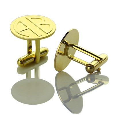 Cufflinks for Men with Block Monogram 18ct Gold Plated - Handmade By AOL Special