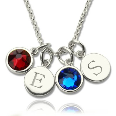 Personalized Double Initial Charm Necklace with Birthstone - Handmade By AOL Special