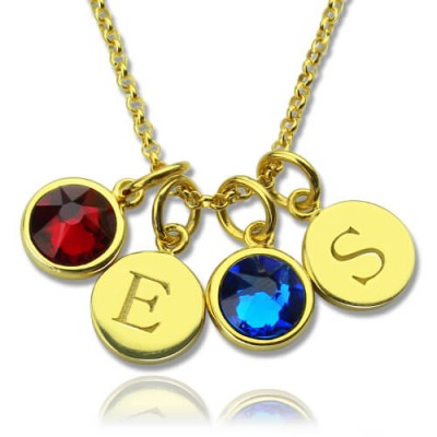Custom Double Discs Initial Necklace with Birthstones In Gold - Handmade By AOL Special
