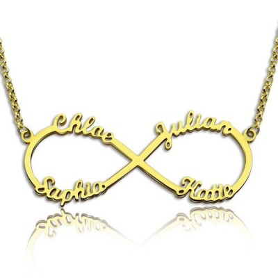 Custom 18ct Gold Plated Infinity Necklace 4 Names - Handmade By AOL Special
