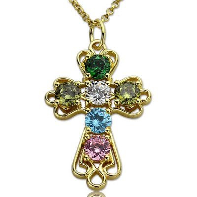 Personalized Cross necklace with Birthstones Gold Plated Silver - Handmade By AOL Special