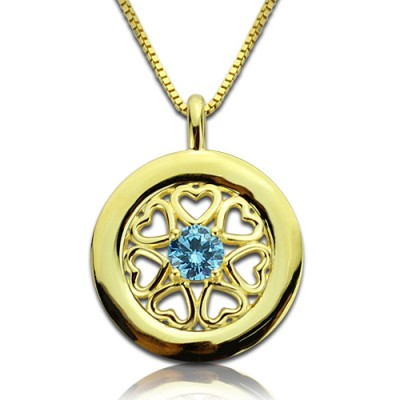 Personalized Hearts Around Necklace with Birthstone 18ct Gold Plated - Handmade By AOL Special