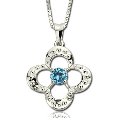 Birthstone Four Clover Good Lucky Charm Necklace Sterling Silver - Handmade By AOL Special