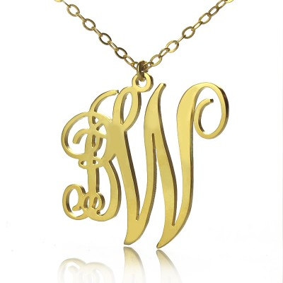 Personailzed Vine Font 2 Initial Monogram Necklace 18ct Gold Plated - Handmade By AOL Special