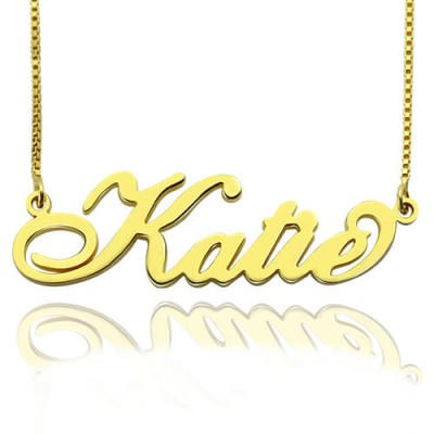 Personalized Necklace Nameplate Carrie in 18ct Gold Plated - Handmade By AOL Special