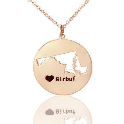 Custom Maryland Disc State Necklaces With Heart Name Rose Gold - Handmade By AOL Special