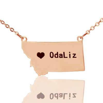 Custom Montana State Shaped Necklaces With Heart Name Rose Gold - Handmade By AOL Special