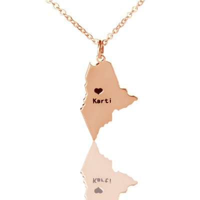 Custom Maine State Shaped Necklaces With Heart Name Rose Gold - Handmade By AOL Special