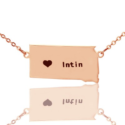 South Dakota State Shaped Necklaces With Heart Name Rose Gold - Handmade By AOL Special