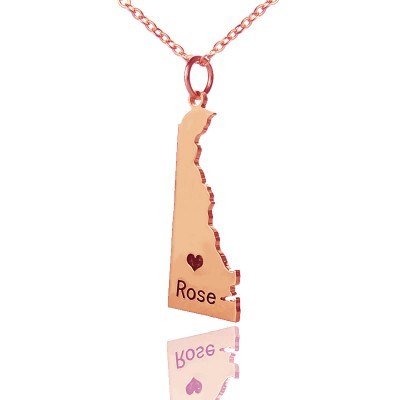 Custom Delaware State Shaped Necklaces With Heart Name Rose Gold - Handmade By AOL Special