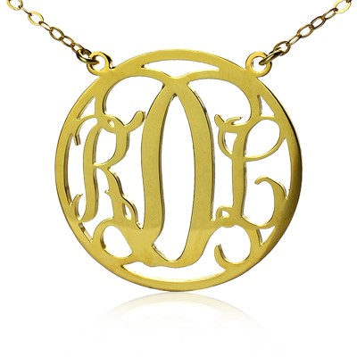 Circle 18ct Solid Gold Initial Monogram Name Necklace - Handmade By AOL Special