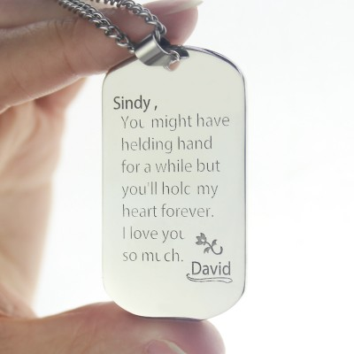 Man's Dog Tag Love and Family Theme Name Necklace - Handmade By AOL Special