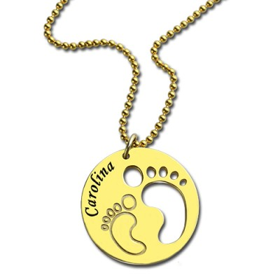 Cut Out Baby Footprint Pendant 18ct Gold Plated - Handmade By AOL Special