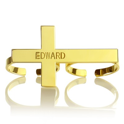 Engraved Name Two finger Cross Ring 18ct Gold Plated - Handmade By AOL Special