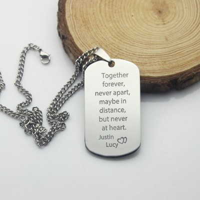 Man's Dog Tag Love Theme Name Necklace - Handmade By AOL Special