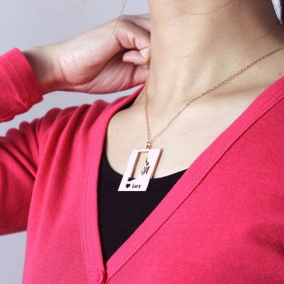 Personalized Rhode State Dog Tag With Heart Name Rose Gold Plate - Handmade By AOL Special