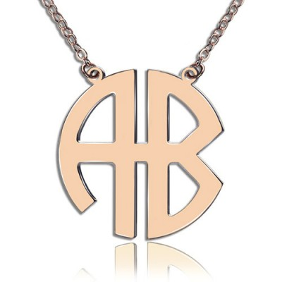 Two Initial Block Monogram Pendant Necklace Solid Rose Gold - Handmade By AOL Special