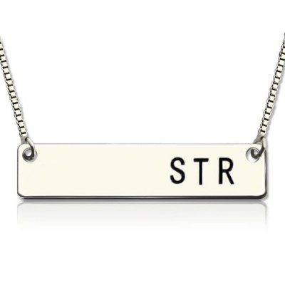 Sterling Silver Initial Bar Necklace - Handmade By AOL Special