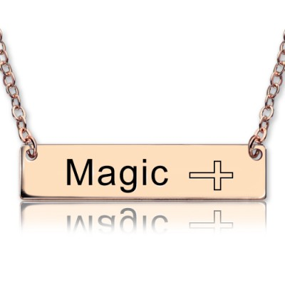 Engraved Name Bar Necklace with Icons 18ct Rose Gold Plated - Handmade By AOL Special
