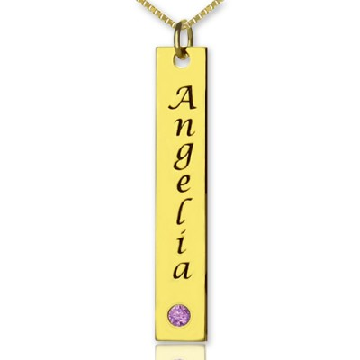 Personalized Name Tag Bar Necklace in 18ct Gold Plated - Handmade By AOL Special