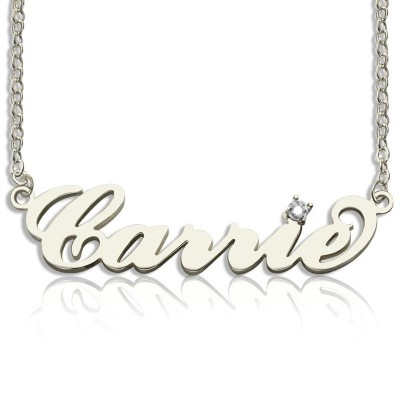 Sterling Silver Carrie Name Necklace With Birthstone - Handmade By AOL Special