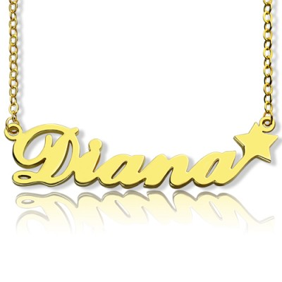 18ct Gold Plated Carrie Style Name Necklace With Star - Handmade By AOL Special