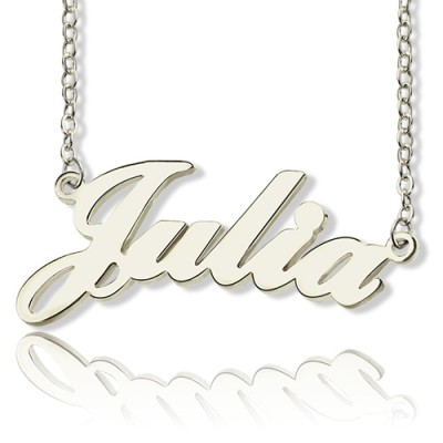 Solid 18ct White Gold Plated Julia Style Name Necklace - Handmade By AOL Special