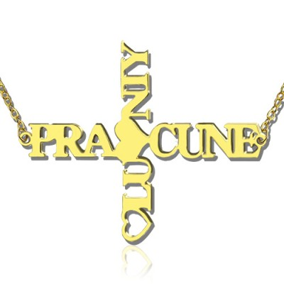 Personalized Two Name Cross Necklace Gold Plated 925 Silver - Handmade By AOL Special