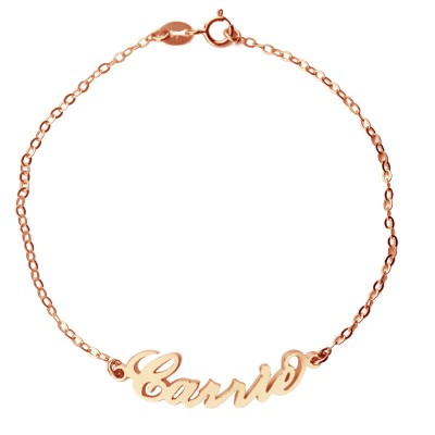 Rose Gold Plated Silver 925 Carrie Style Name Bracelet - Handmade By AOL Special