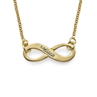 Engraved Infinity Necklace in 18ct Gold Plating - Handmade By AOL Special