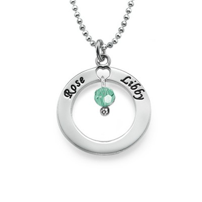 Engraved Classic Circle Necklace with Birthstones - Handmade By AOL Special