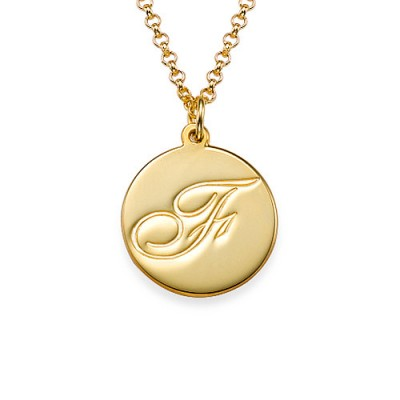 18ct Gold Plated Initial Pendant with Script Font - Handmade By AOL Special