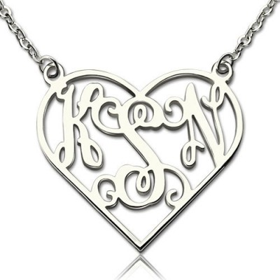 Heart Monogram Necklace Sterling Silver - Handmade By AOL Special