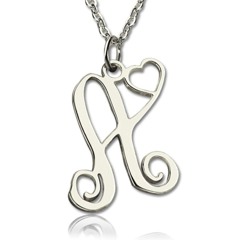 d4f4c8432 Custom One Initial With Heart Monogram Necklace Solid 18ct White Gold -  Handmade By AOL Special