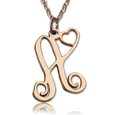 Personalized One Initial With Heart Monogram Necklace 18ct Rose Gold Plated - Handmade By AOL Special