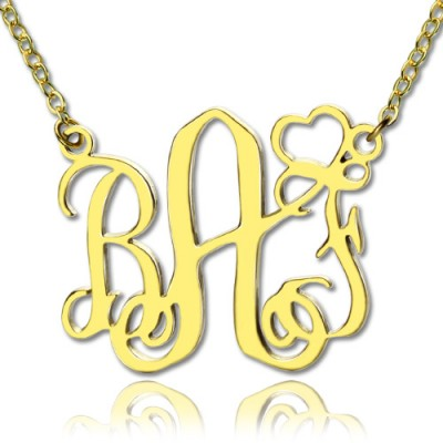 Personalized Initial Monogram Necklace With Heart 18ct Gold Plated - Handmade By AOL Special