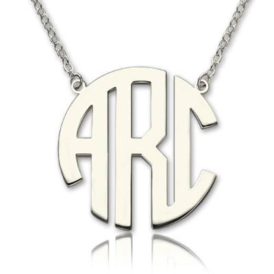 Solid White Gold 18ct Initial Block Monogram Pendant Necklace - Handmade By AOL Special