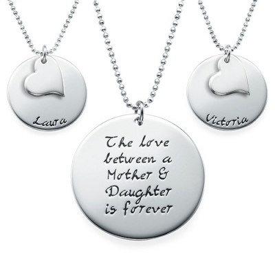 Mother Daughter Gift - Set of Three Engraved Necklaces - Handmade By AOL Special