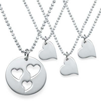 Mother and Daughter Cut Out Heart Necklace Set - Handmade By AOL Special
