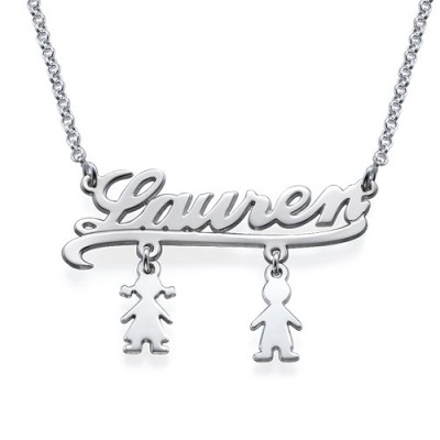 Mummy Name Necklace with Kids Charms - Handmade By AOL Special
